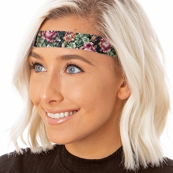Hipsy Adjustable NO SLIP Shimmer Glitter Antique Rose Black & Pink Wide Non-Slip Headband