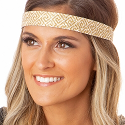 Hipsy Adjustable NO SLIP Shimmer Glitter Greek Key Gold & White White Wide Non-Slip Headband