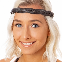 Hipsy Adjustable NO SLIP Genuine Leather Black Braided Non-Slip Headband