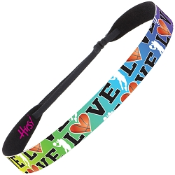 Hipsy Adjustable NO SLIP I Love Basketball Rainbow Wide Non-Slip Headband