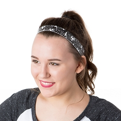 Hipsy Adjustable NO SLIP I Love Soccer Black Wide Non-Slip Headband