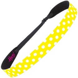 Hipsy Adjustable NO SLIP Polka Dot Yellow & White Wide Non-Slip Headband