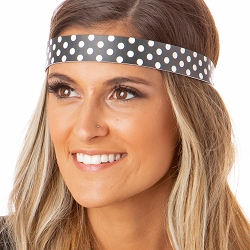 Hipsy Adjustable NO SLIP Polka Dot Black & White Wide Non-Slip Headband