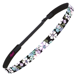 Hipsy Adjustable NO SLIP Pastel Flowers Black Skinny Non-Slip Headband