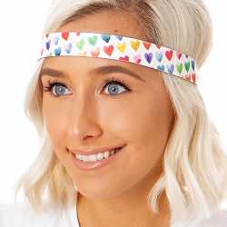 Hipsy Adjustable No Slip Painted Hearts White Wide Non-Slip Headband