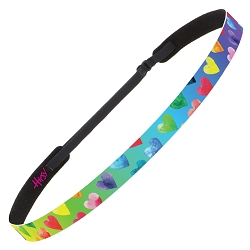 Hipsy Adjustable No Slip Painted Hearts Rainbow Skinny Non-Slip Headband