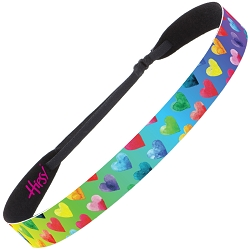Hipsy Adjustable No Slip Painted Hearts Rainbow Wide Non-Slip Headband