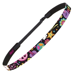 Hipsy Adjustable NO SLIP Peace Love & Music Black Skinny Non-Slip Headband