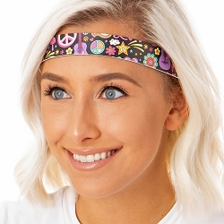 Hipsy Adjustable NO SLIP Peace Love & Music Black Wide Non-Slip Headband