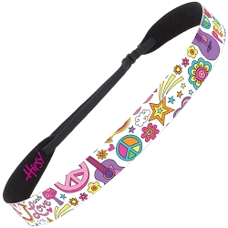 Hipsy Adjustable NO SLIP Peace Love & Music White Wide Non-Slip Headband
