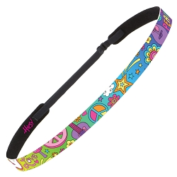 Hipsy Adjustable NO SLIP Peace Love & Music Rainbow Skinny Non-Slip Headband