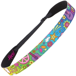 Hipsy Adjustable NO SLIP Peace Love & Music Rainbow Wide Non-Slip Headband