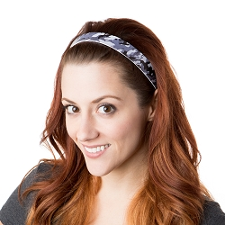 Hipsy Adjustable NO SLIP Retro Camo Dark Grey Wide Non-Slip Headband