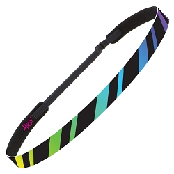 Hipsy Adjustable NO SLIP Rainbow Stripes Black Skinny Non-Slip Headband