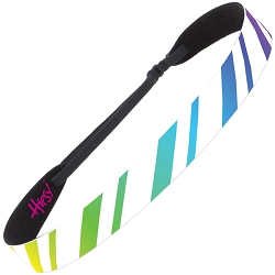 Hipsy Adjustable NO SLIP Rainbow Stripes White Wide Non-Slip Headband