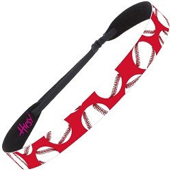 Hipsy Adjustable NO SLIP Softballs on Red Wide Non-Slip Headband