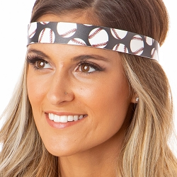 Hipsy Adjustable NO SLIP Softballs on Black Wide Non-Slip Headband