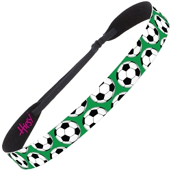 Hipsy Adjustable NO SLIP Soccer Balls Green Wide Non-Slip Headband