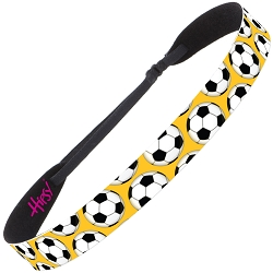Hipsy Adjustable NO SLIP Soccer Balls Yellow Gold Wide Non-Slip Headband