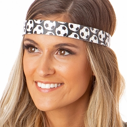 Hipsy Adjustable NO SLIP Soccer Balls Black Wide Non-Slip Headband