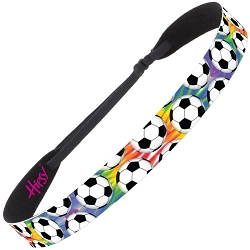 Hipsy Adjustable NO SLIP Soccer Balls Tie Dye Wide Non-Slip Headband