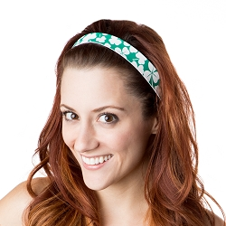 Hipsy Adjustable NO SLIP St. Patrick's Day Shamrocks on Green Wide Non-Slip Headband
