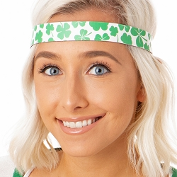 Hipsy Adjustable NO SLIP St. Patricks Day Clover Shamrocks on White Wide Non-Slip Headband