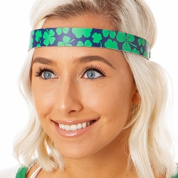 Hipsy Adjustable NO SLIP St. Patricks Day Clover Shamrocks on Navy Wide Non-Slip Headband