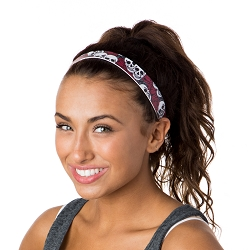 Hipsy Adjustable NO SLIP Skulls n Roses Red Wide Non-Slip Headband