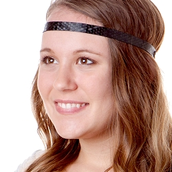 Hipsy Adjustable NO SLIP Geo Sport Black Skinny Non-Slip Headband