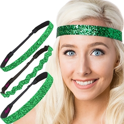 Hipsy Irish Green Headband St Patricks Day Accessories Clover Headband Gift Packs (St Patty's Day Green Glitter 3pk)