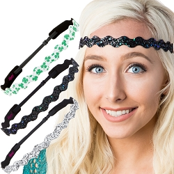 Hipsy Irish Green Headband St Patricks Day Accessories Clover Headband Gift Packs (Wave Silver/Peacock/Clover 3pk)