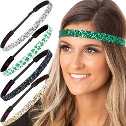 Hipsy Irish Green Headband St Patricks Day Accessories Clover Headband Gift Packs (Sk Gold/Peacock/Clover/Silver/Green 5pk)