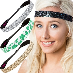 Hipsy Irish Green Headband St Patricks Day Accessories Clover Headband Gift Packs (Wide Silver/Peacock/Shamrock/Gold 4pk)