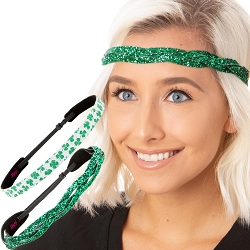 Hipsy Irish Green Headband St Patricks Day Accessories Clover Headband Gift Packs (Green Braided & Sparkly Clover 2pk)