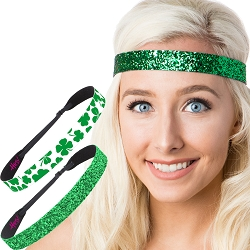 Hipsy Irish Green Headband St Patricks Day Accessories Clover Headband Gift Packs (Green Clover & Wide Glitter 2pk)