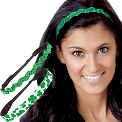 Hipsy Irish Green Headband St Patricks Day Accessories Clover Headband Gift Packs (Green Clover & Wave Glitter 2pk)