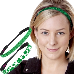 Hipsy Irish Green Headband St Patricks Day Accessories Clover Headband Gift Packs (Green Clover & Skinny Glitter 2pk)