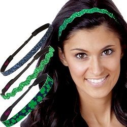 Hipsy Irish Green Headband St Patricks Day Accessories Clover Headband Gift Packs (Green & Navy Clover 3pk)