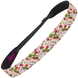 Hipsy Adjustable NO SLIP Strawberries Pink Wide Non-Slip Headband