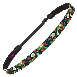 Hipsy Adjustable NO SLIP Strawberries Navy Skinny Non-Slip Headband
