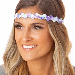 Hipsy Adjustable NO SLIP Painted Swirl Purple Wave Non-Slip Headband