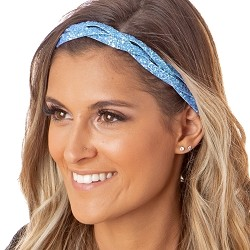 Hipsy Adjustable NO SLIP Bling Glitter Light Blue Braided Non-Slip Headband