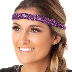 Hipsy Adjustable NO SLIP Bling Glitter Fuchsia Braided Non-Slip Headband