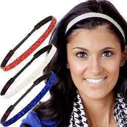 Hipsy Irish Green Headband Fourth of July Accessories Headband Gift Packs (Skinny Royal/White/Red 3pk)