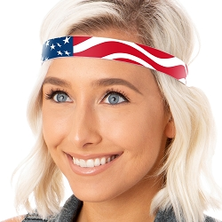 Hipsy Adjustable NO SLIP American Flag Wide Non-Slip Headband
