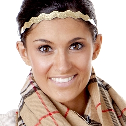 Hipsy Adjustable NO SLIP Smooth Glitter Gold Wave Non-Slip Headband