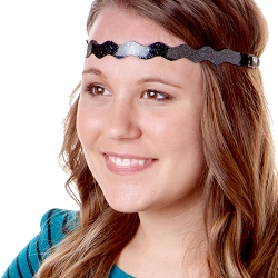 Hipsy Adjustable NO SLIP Smooth Glitter Black Wave Non-Slip Headband