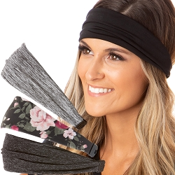Hipsy Adjustable & Stretchy Spandex Xflex Fashion Sport Headband Gift Pack (Black/Grey/Floral/Charcoal 4pk)