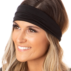 Hipsy Unisex Adjustable Spandex Xflex Basic Black Headband